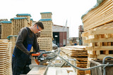 Work sawing boards. Sawmill. wood harvesting process