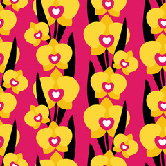 Seamless pattern with orchid flowers on pink background. Can be used for printing on fabric and paper and other surfaces.