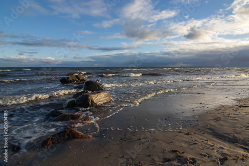 canvas print picture Baltic Sea beach with rocks and sandy beach