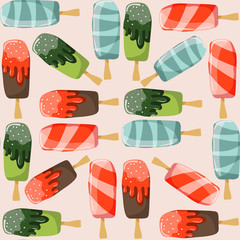 Seamless pattern with ice creams different in taste and shape