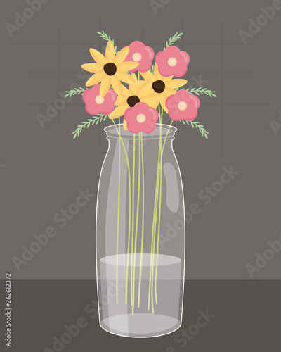 mason jar glass with floral decoration