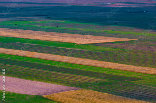 Aerial view of the PianGrande of Castelluccio di Norcia (Umbria) Italy
