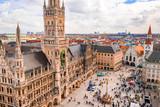 Beautiful Munich architectural aerial view. Germany, Bavaria. Marienplatz town hall.