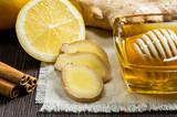 Honey, lemon, ginger and cinnamon - useful additives to tea and drinks.