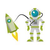 Astronaut and spaceship cartoon
