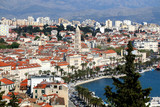 Aerial view of historic city centre of Split, Croatia. Split is popular summer travel destination.