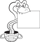 Black and white illustration of a cobra coming out of a basket and holding a sign.
