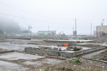 Seriously Damaged City by Tsunami Disaster in Japan 2011