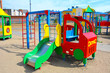 Children's playground in the usual courtyard of an apartment building. provincial town. Russia