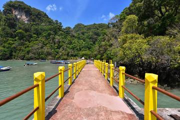 Long pier at Pulau Dayang Bunting, Langkawi Island Malaysia