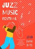 Jazz Music Festival Poster Flat Banner Template
