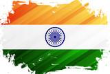Flag of India brush stroke background. National flag of Republic of India. Vector illustration.