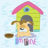 handdraw cute little dog cartoon