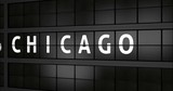 3D generated animation 4K, Analogue airport billboard with flight information, arrival city of Chicago