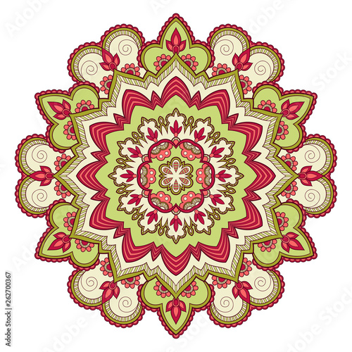 Decorative colorful ethnic mandala pattern. Design element for greeting card, banner or poster in oriental style. Hand drawn illustration © nonikastar