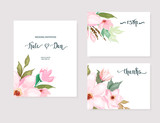 Set of floral card with watercolour flowers. Greenery frame.Rustic style. For wedding, birthday, party, save the date. Vector illustration. Watercolor style - 262711159