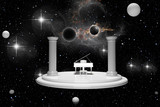 Podium, piano and girl in outer space - 3D rendering