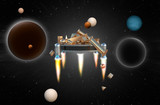 Space platform loaded with gold. 3D rendering