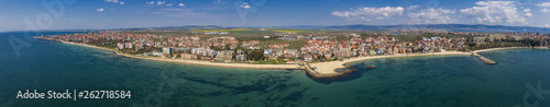 Panoramic view from the air to the sea resort Ravda on the Bulgarian Black Sea coast - 262718584