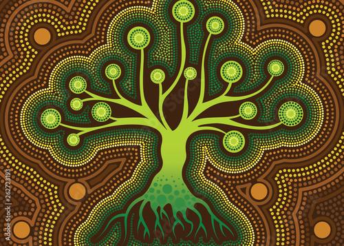 Aboriginal dot art vector painting with tree. - 262723193