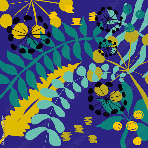 abstract blue floral jungle background - 262731517