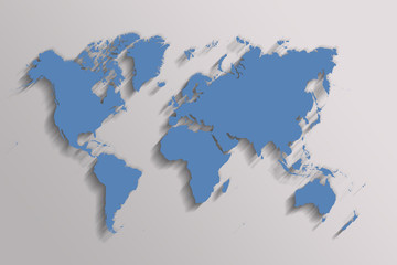 blue map of the world on gray background