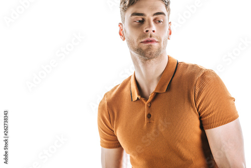 canvas print picture handsome, confident young man looking away isolated on white