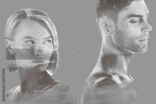 double exposure of beautiful woman and handsome man and hills and sky on grey