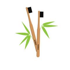 Bamboo toothbrush vector illustration. Zero waste. © Iryna