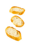 toasted baguette slices isolated on white