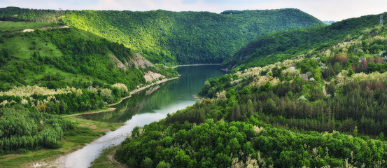 spring sunrise over the river. canyon of the picturesque river. spring morning © sergnester