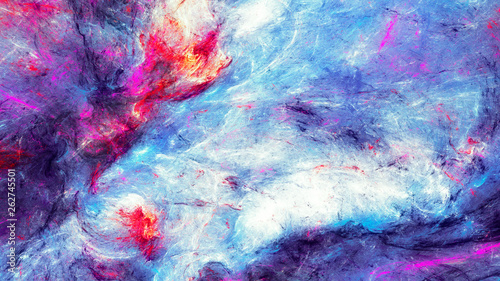 Blue sea wave. Artistic splashes of bright paints. Abstract color background for wallpaper, interior, album, cover, poster, booklet. Fractal artwork for creative graphic design © Alena