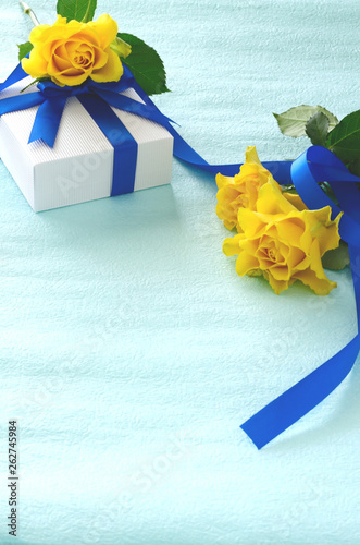Gift box with yellow roses
