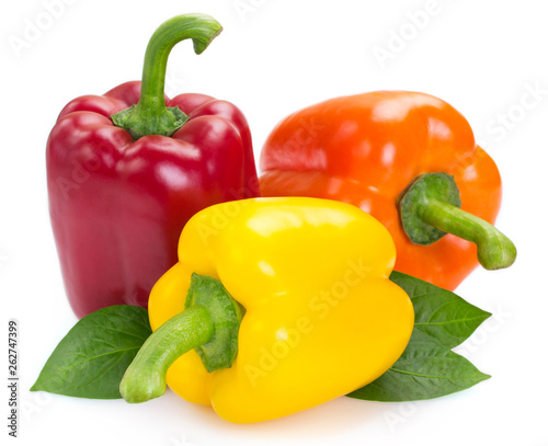 Fresh peppers isolated on white background - 262747399