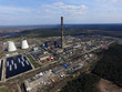 Chimney of power plant in the forest. Drone aerial view.  Near Kiev,Ukraine - 262749119
