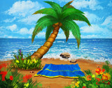 Tropical Beach. Landscape Background and Backdrop. Concept Art. Realistic Illustration. Video Game Digital CG Artwork. Nature Scenery. - 262751571