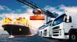 Quadro Transport mit LKW und Schiff