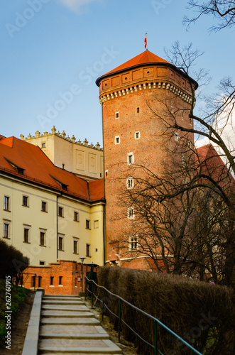 Krakow Wawel Castle at sunset at the end of February, calm warm pleasant weather.