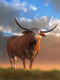 A Texas Longhorn bull stands in the grass looking at you.  The steer has a brown coat with white spots, but its most noticeable feature is its long curved horns. 3dRendering
