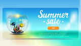 Summer sale, discount banner with lettering, button, sea landscape and round aquarium with fish