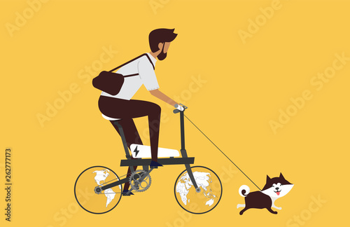 Cartoon picture with man riding fast modern electric bicycle with wotld maps, globe. Enjoying futuristic bike ride and he's walking the dog. Flat style vector illustration. Yellow Background.