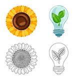 Isolated object of innovation and technology  sign. Collection of innovation and nature  stock symbol for web.
