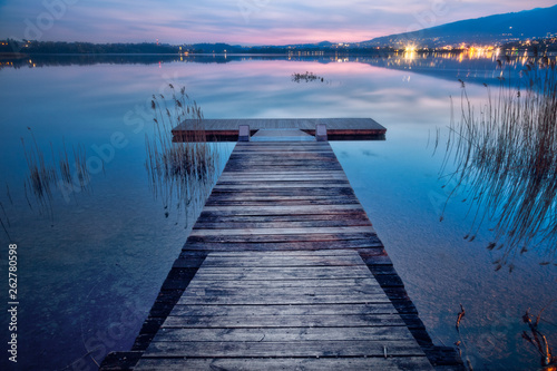 Acrylglas Pier wood bridge sunset