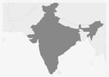 Map of Asia with highlighted India map