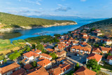 aerial view of the beautiful fishing village Psarades in Prespa lake in Northern Greece