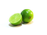 Lime with slice isolated on white background