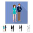 Vector illustration of couple  and young  logo. Set of couple  and husband vector icon for stock.