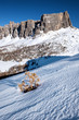 Quadro dolomites italy passo giau landscpae winter snow
