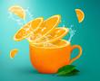 Orange tea splashing creative concept for poster, flyer, banner. Fresh orange juice or tea. Freshly squeezed orange - 262814976