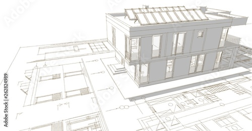 house building 3d illustration - 262824989